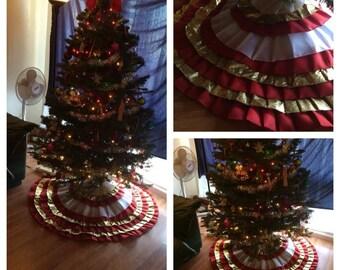 Custom handmade christmas tree skirt