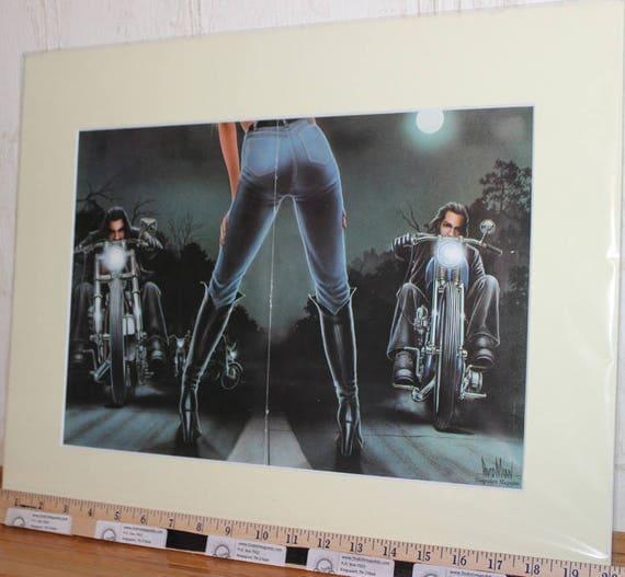 "David Mann ""Harley-Davidson Race Starter Girl"" 16"" x 20"" Matted Motorcycle Biker Art #8203ezrxmc"