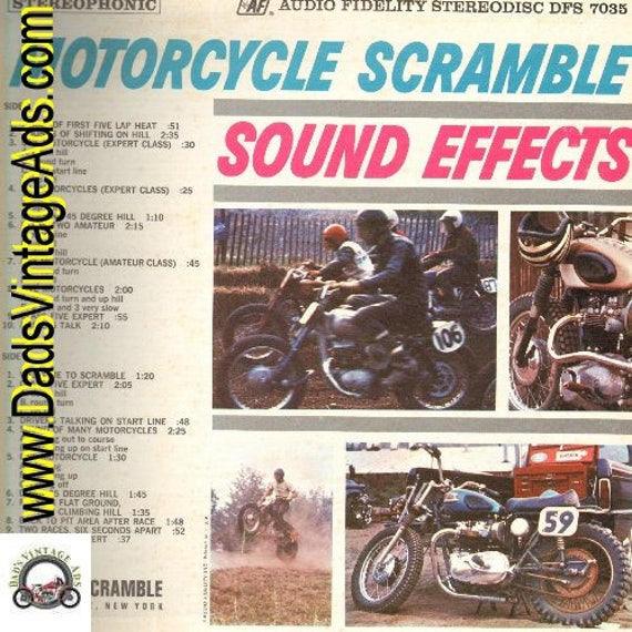 1964 Motorcycle Scramble Sound Effects Vintage LP Record Album #rec153