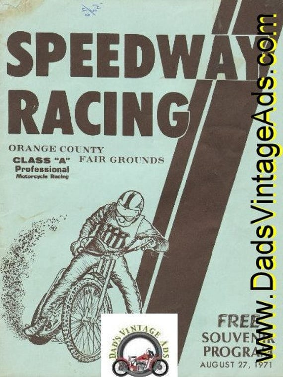 1971 Speedway Racing Class ''A'' Pro Motorcycle Racing Orange County Program #mb185