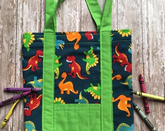 Coloring Tote Bags//coloring bags//crayon pocket bag