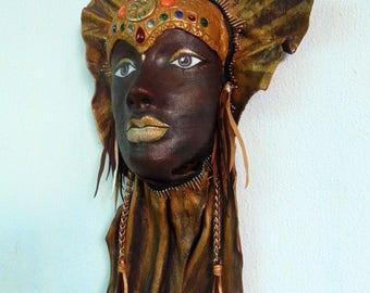 Masque en cuir. Fait main en cuir Mask.Decorative mur Mask.Good chance cuir Mask.Wedding en cuir-cadeau de fête. Cadeau pour la maison. Décoratif.