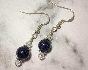 Blue Goldstone and Swarovski Earrings