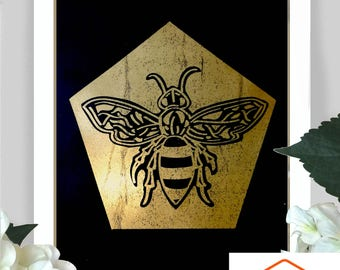 Charity Manchester Bee illustration gold foil print with 50% of profits donated to the Manchester Charities