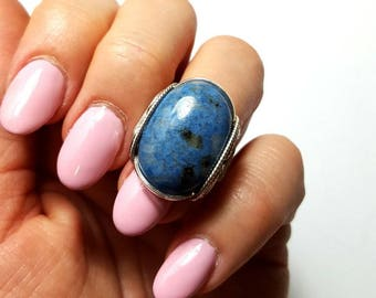 Blue Stone Ring, Size 7.5 or Custom Sized, Natural Denim Lapis, Sterling Silver, Boho Ring, Bohemian Fashion, Finger Candy, Oval Lapis Ring