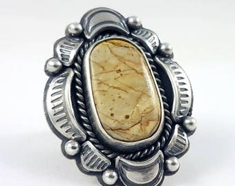 LaoOne * Sterling Silver Ring * with a brown Nevada Ribbon Rock Turquoise