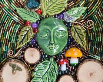 Mixed Media Mosaic ~ Green Lady Mosaic ~ Green Man ~ Bead Mosaic Wall Art ~ Lady of the Leaves