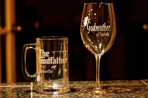 Custom Engraved Godmother Wine Glass Godfather Beer Mug Set