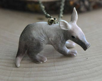 Hand Painted Porcelain Aardvark Necklace, Antique Bronze Chain, Vintage Style, Ceramic Animal Pendant & Chain (CA145)