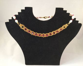 Pearl Chainmaille choker necklace bicycle chain weave with ruby Swarovski bicone beads and pearl rice beads.