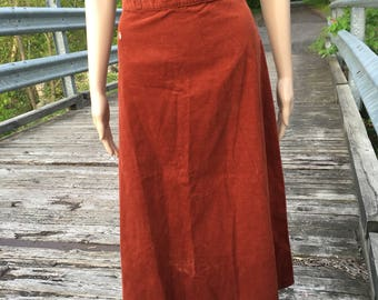 Vintage 70's Burnt Orange Hang Ten Corduroy Skirt