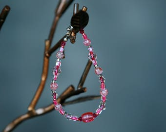 Pink glass and silver spatter