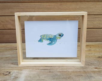 "Baby Turtle Watercolour Painting Small Print 5x7"" - Painting Turtle Illustration Ocean Beach Marine Nursery  Birthday Animal Gift Home"