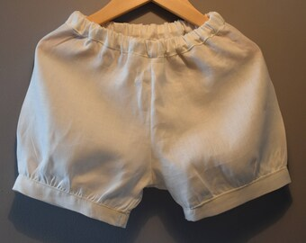 White linen with elastic waist shorts