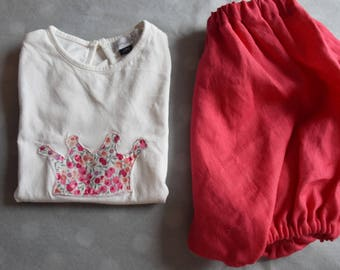 Raspberry t-shirt flocked and linen bloomers set