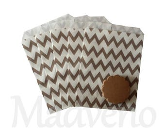 Set of 10 paper bags / gray Chevron gift bags