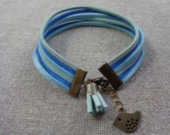 Tassel bracelet, cuff bracelet blue bracelet different Suede Blue with bronze bird and tassel
