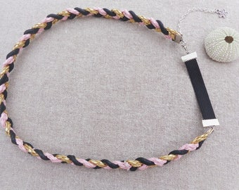 Large adjustable headband black gold pink - ninette barrettes