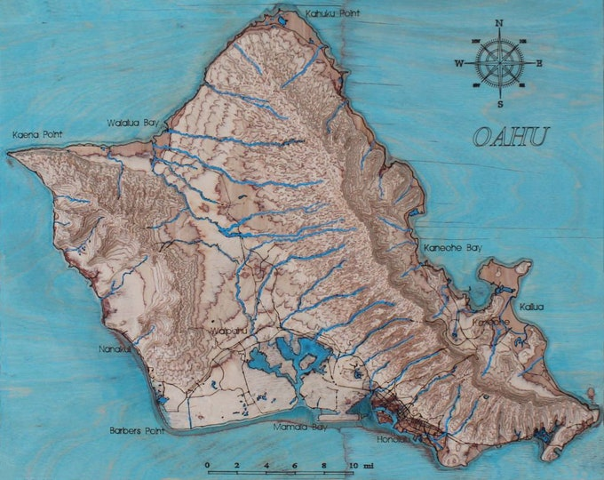 Oahu Island, Hawaii 3D map/3D wall art/Oahu map/
