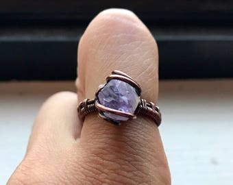 Amethyst Wire Wrapped Ring- Size 7