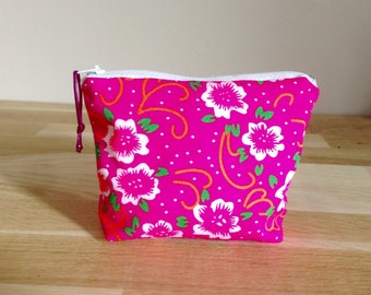 Wallet / Mini case in fabric, neon pink flowers
