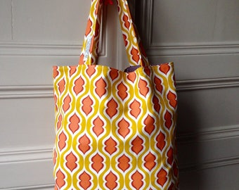 Bag / tote bag / Tote bag fabric, Vintage - Orange, mustard and purple