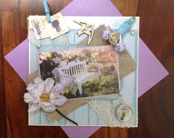 Woman, all occasion card, made, 3D, Garden, Provence.vacances