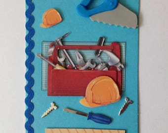 Birthday card made handmade 3D box DIY handyman tools