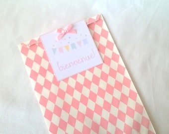 "Baby Pink and pastel ""Welcome"" gift bag"