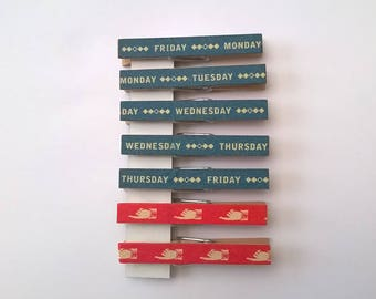 7 clothespins vintage decorated 7 week days