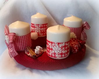 Christmas Wreath Red and white theme table Center, 4 candles