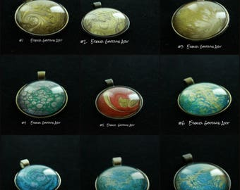 Multiple Oil Paint Necklaces With Glass Dome