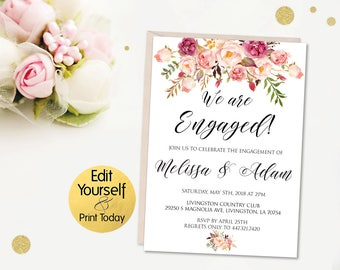 Engagement Invitation Template, Editable Engagement Invitation, Engagement  Party Invites, Boho Engagement Party,  Engagement Party Invitation Template