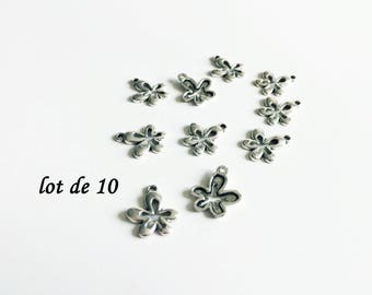 Set of 10 flowers silver plated, silver plated charms