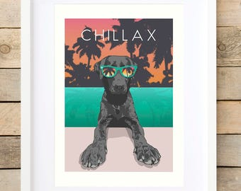 Labrador retriever Gift-for-men man-gift print gift-ideas Gift-for-him good vibes only relaxation wall art gift for relaxing tropical palms