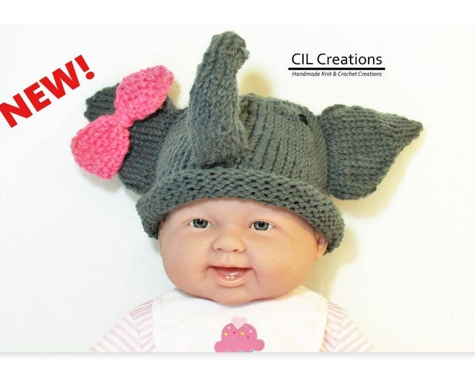 Featured listing image: Baby Girl Elephant Hat Made to Order Multiple sizes Handmade Knit