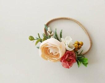 Newborn Floral Crown | Baby Headband | Floral Crown | Flower Crown | Rustic headband | Floral headband | Newborn prop
