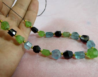 21 Pieces hand faceted Fluorite,Black Tourmaline Peridot mix necklace H