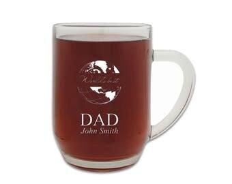World's Best Dad 20oz Glass Barrel Beer Mug - Personalized Barrel Ale Glass - Laser Engraved Beer Glass - Gift for Him - Beer Tankard