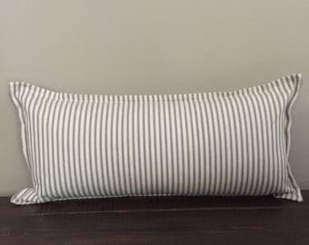 Gray Ticking Stripe Pillow Cover, Long Lumbar Pillow, Throw Pillow Cover, Farmhouse Pillow, Decorative Pillows, Pillow Cover 12x22