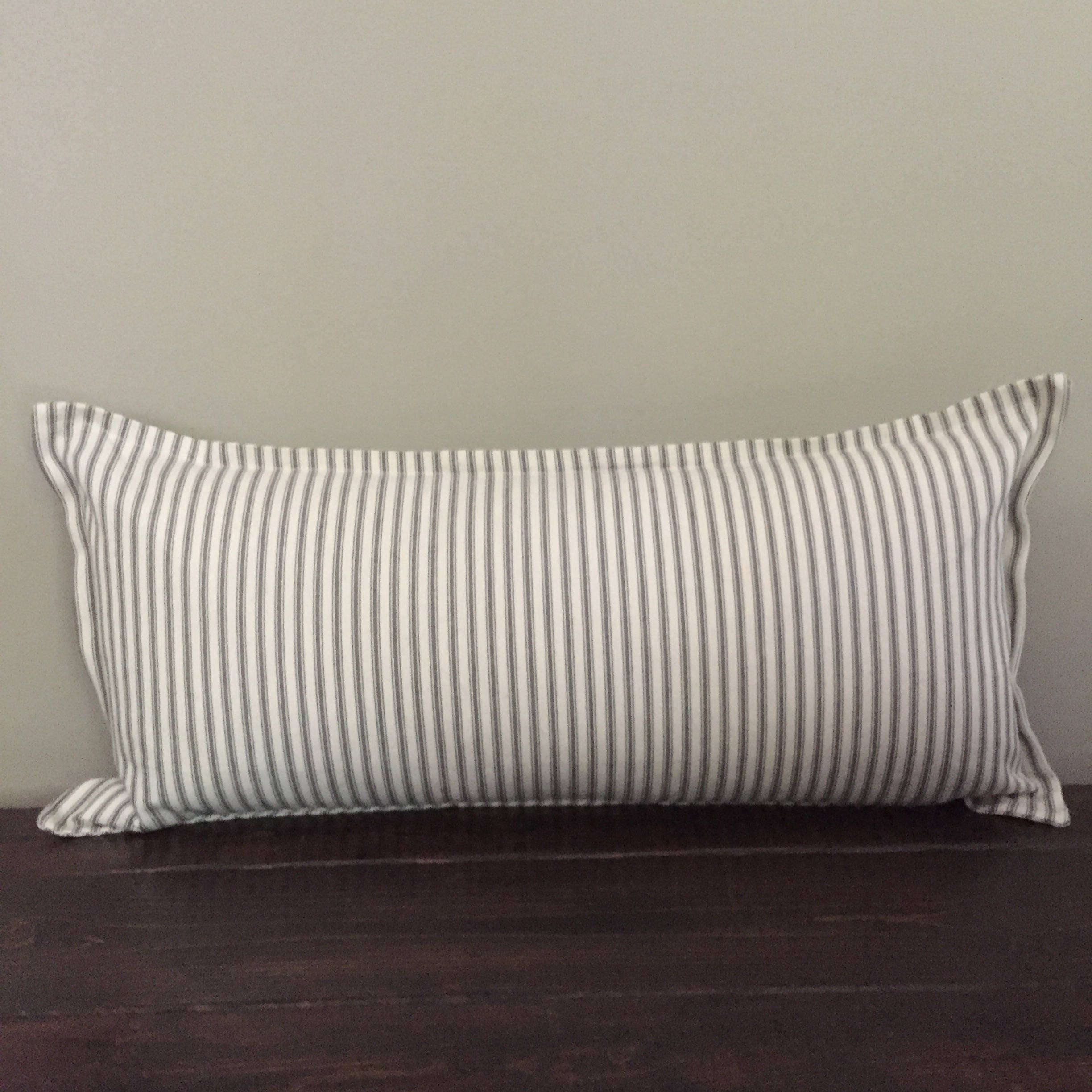 Long Decorative Lumbar Pillow : Gray Ticking Stripe Pillow Cover Long Lumbar Pillow Throw