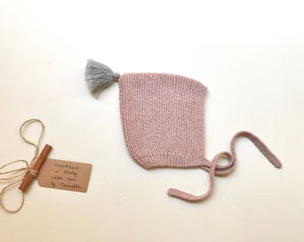 READY TO SHIP - Baby Pixie Bonnet hat 100% cashmere  color Old rose with grey pom pom hand knitted,  size 3-6 months