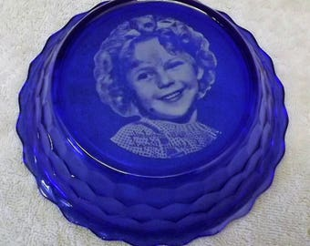 1930's Shirley Temple Cobalt Blue Cereal Bowl  - Made by The Hazel Atlas Glass Company - Free Shipping.