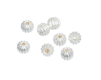 100 Silver Plated Corrugated Pumpkin Spacer Beads 4mm (B284w)