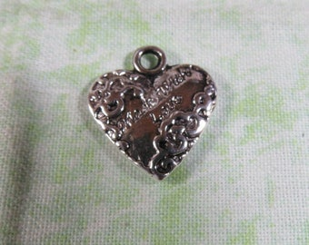 5 Antique Silver Made with Love Heart Charms  (B366n)