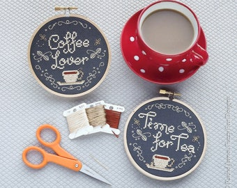 Chalk Board Cross Stitch Pattern PDF | Coffee Lover | Time for Tea | Easy | Modern | Beginners Counted Cross Stitch | Instant Download