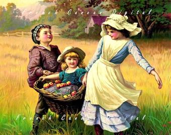 Antique children illustration, Digital Download