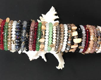 Stretch bracelet, stackable bracelets, comfortable fit, Multi-layer Bracelet