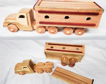 "Wooden toy for kid - container truck - 14"" x 5"" x 5"""