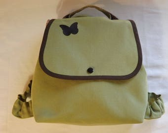 Customizable backpack kids light green and Brown.